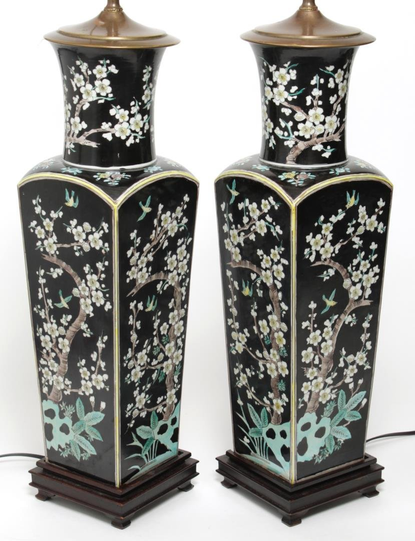 Chinese Famille Noir Square Vase Lamps, Pair