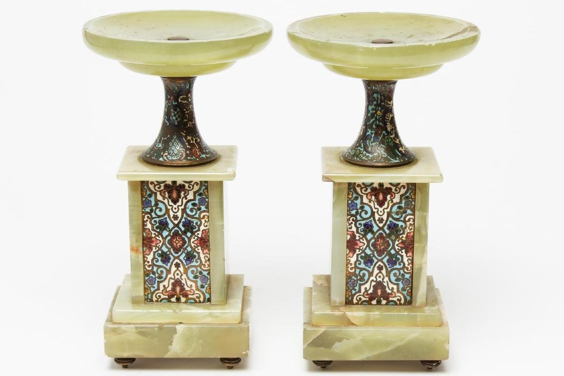 French Alabaster & Champleve Enamel Tazzas, Pair