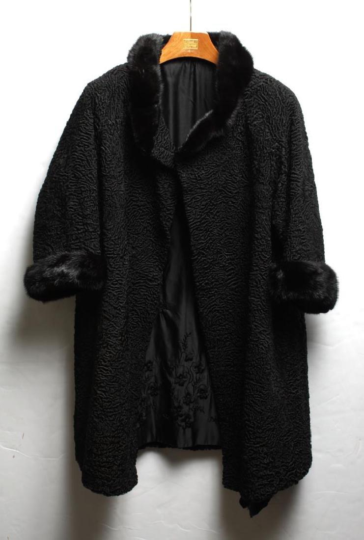 Vintage Persian Lamb Coat with Fur Trim, Woman's