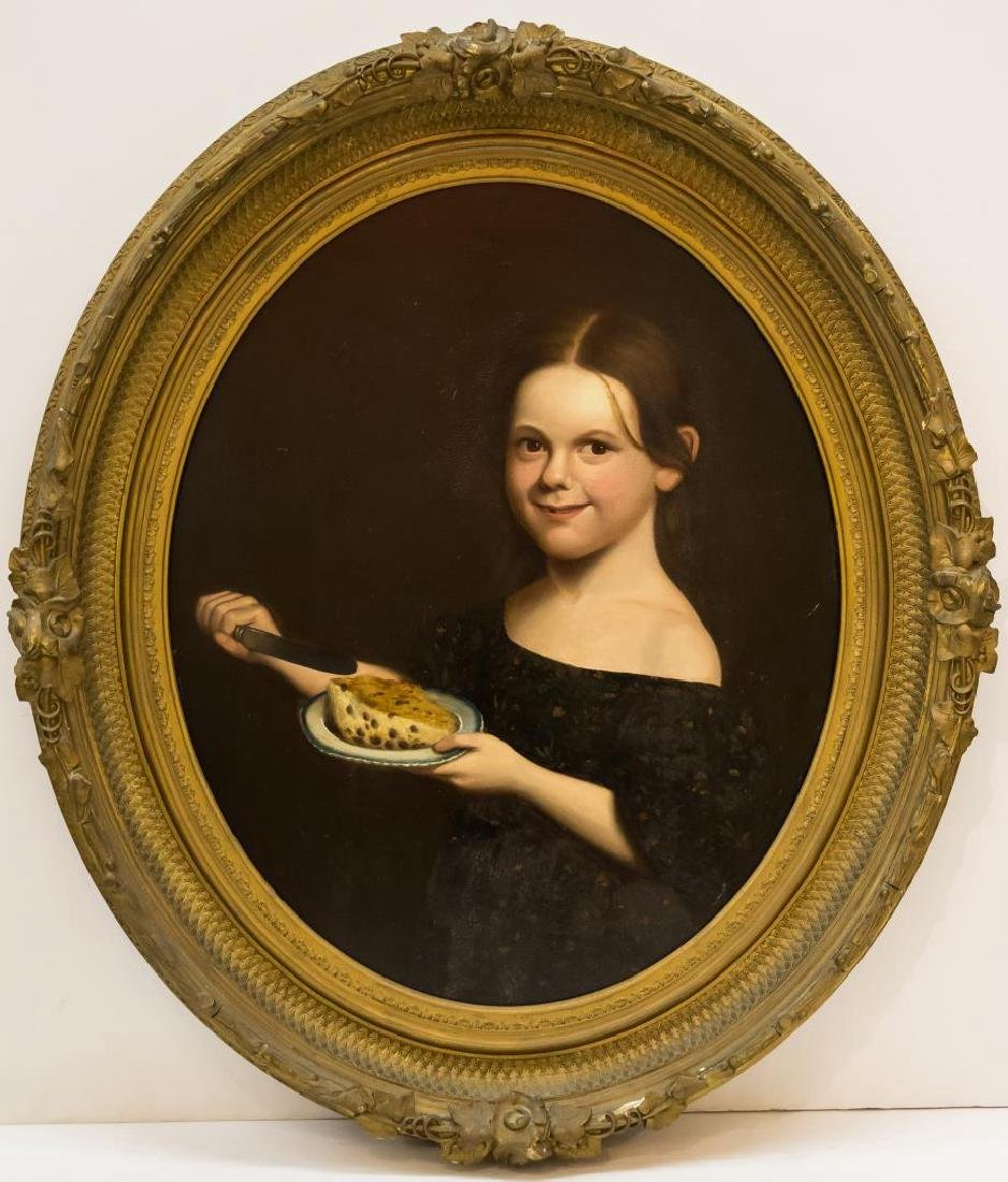 19th C. Portrait of a Young Girl, Oil on Board