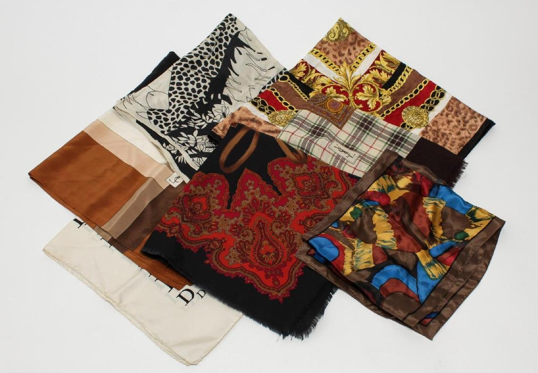 Dior, YSL & Other Silk Scarves & Shawls, 7 Pieces