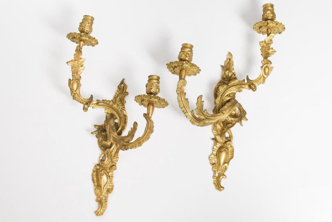 Rococo-Style Gilt Metal Candelabra Sconces, Pair