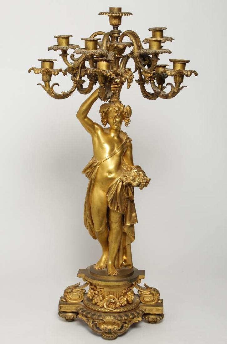 French Bronze Dore 10-Light Candelabrum, 19th C.
