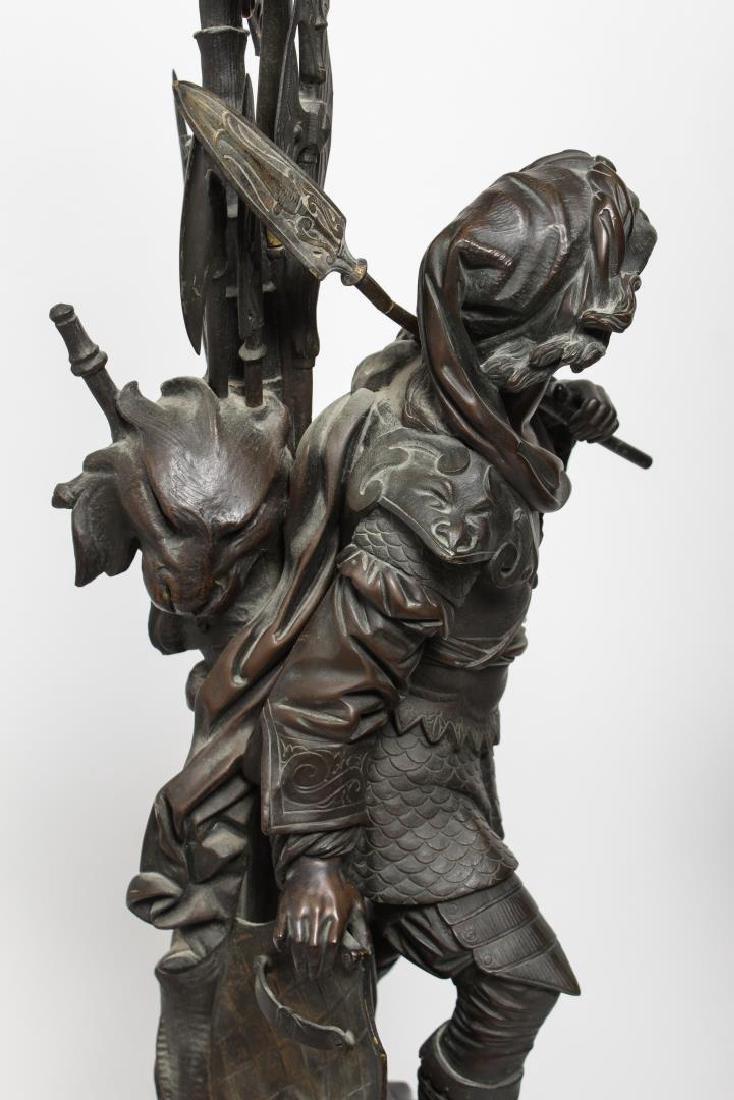 German Bronze Knight Sculptures-Antique Large Pair - 10