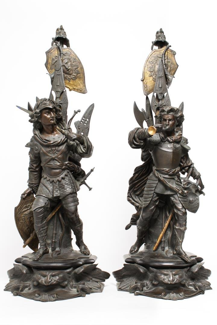 German Bronze Knight Sculptures-Antique Large Pair