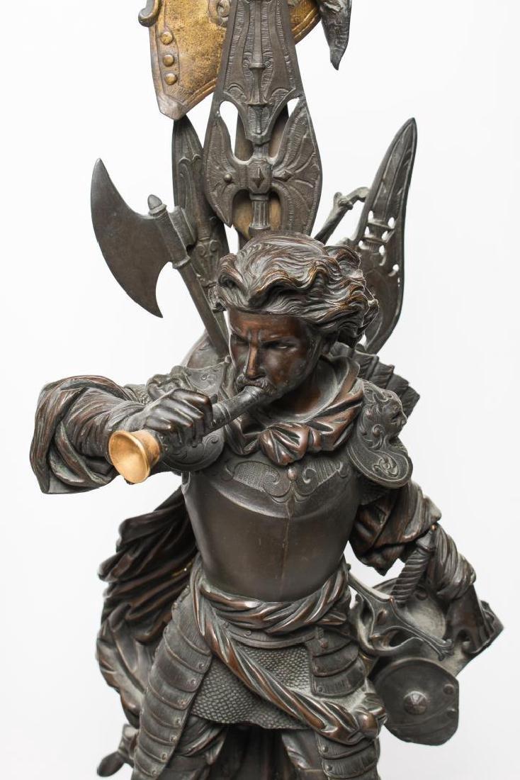 German Bronze Knight Sculptures-Antique Large Pair - 2