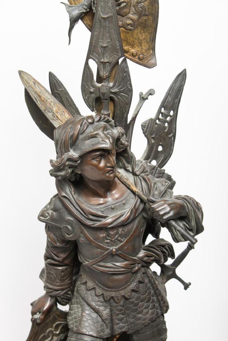 German Bronze Knight Sculptures-Antique Large Pair - 3