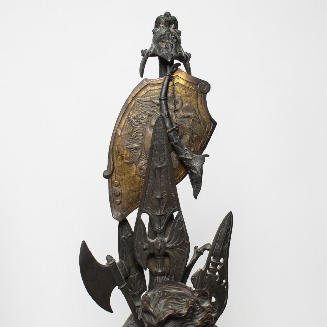 German Bronze Knight Sculptures-Antique Large Pair - 4