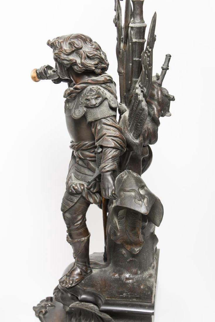 German Bronze Knight Sculptures-Antique Large Pair - 7