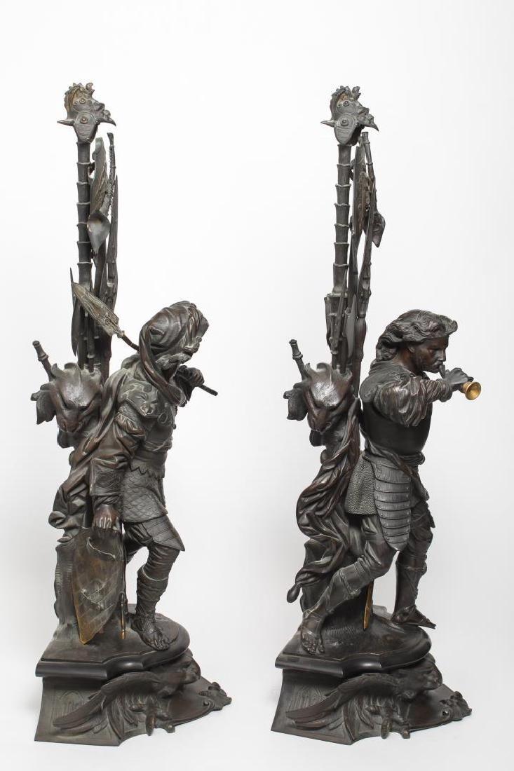 German Bronze Knight Sculptures-Antique Large Pair - 8