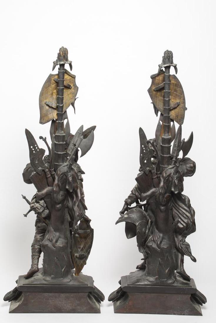German Bronze Knight Sculptures-Antique Large Pair - 9