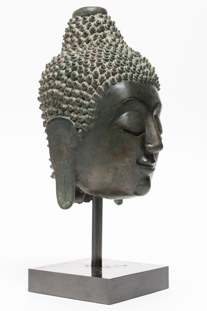 Southeast Asian Thai Bronze Head of Buddha
