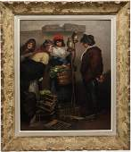 Signed Bolletti- Genre Painting Oil on Panel