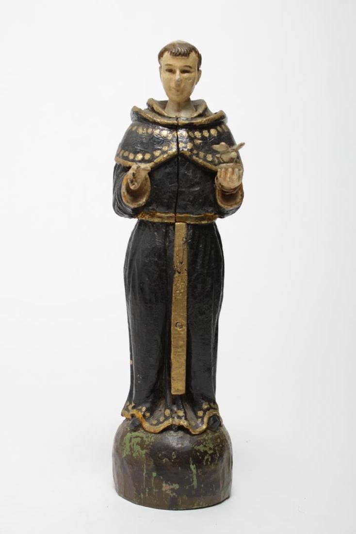 St. Francis Santos Carved & Painted Wood Figure - 2