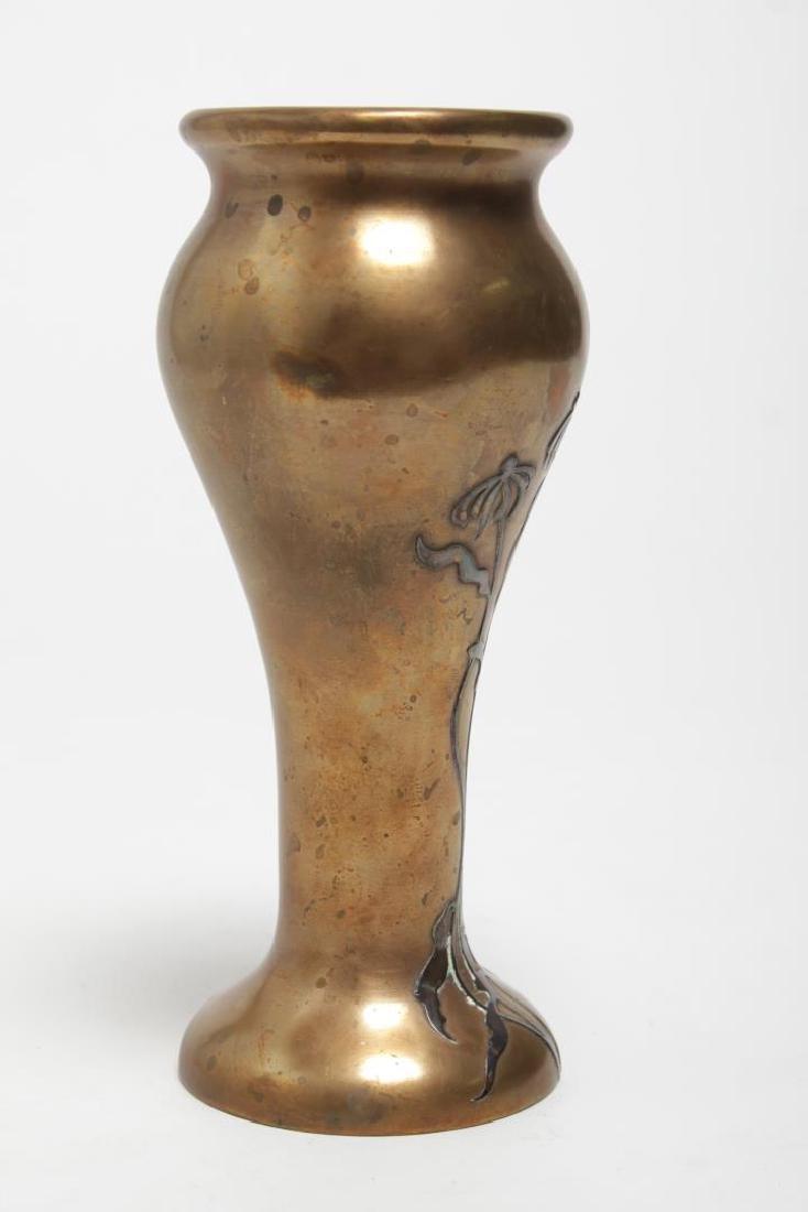 Heintz Art Nouveau Japonisme Mixed Metal Vase - 2