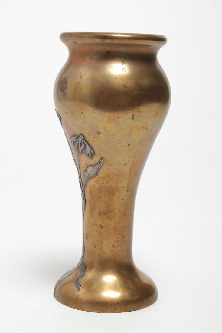 Heintz Art Nouveau Japonisme Mixed Metal Vase - 3