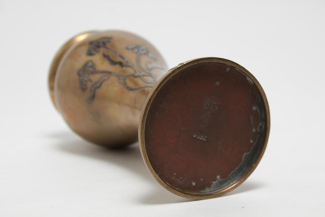 Heintz Art Nouveau Japonisme Mixed Metal Vase - 5