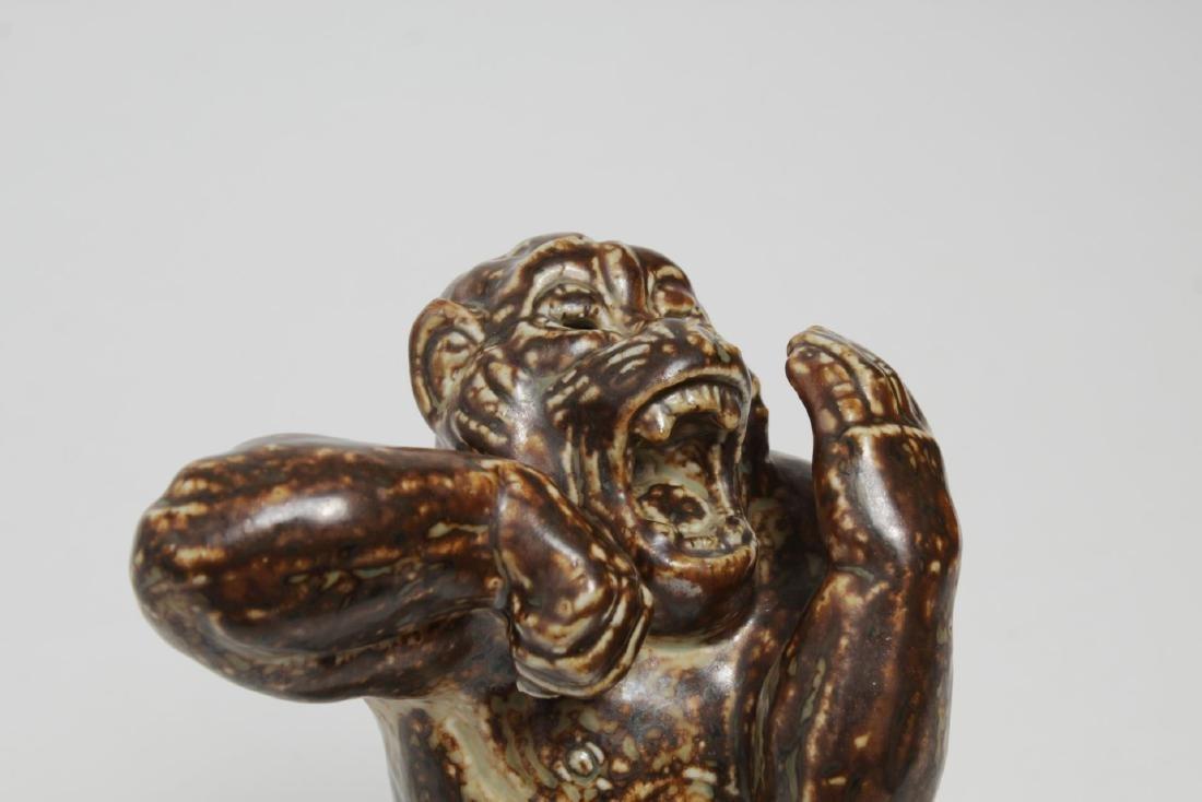 Royal Copenhagen Stoneware Angry Baboon, Knud Kyhn - 5