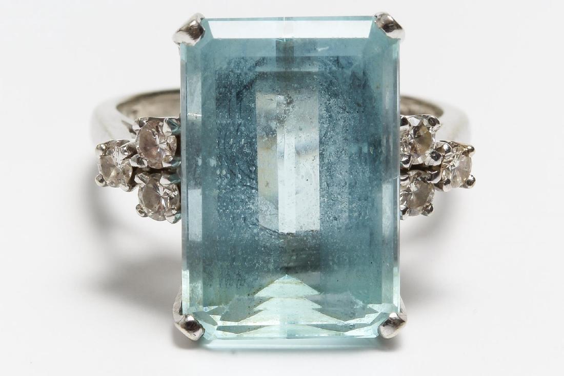 Aquamarine & Diamond Cocktail Ring, 14K White Gold - 2