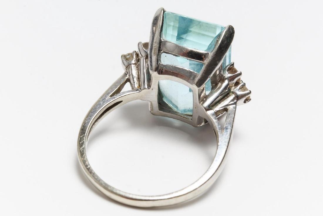 Aquamarine & Diamond Cocktail Ring, 14K White Gold - 3