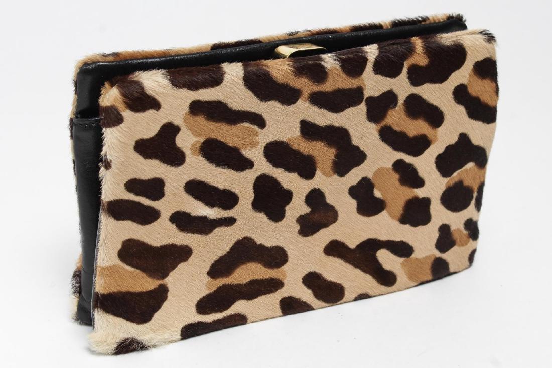 Donna Karan Italian Calf Hair Faux Leopard Clutch