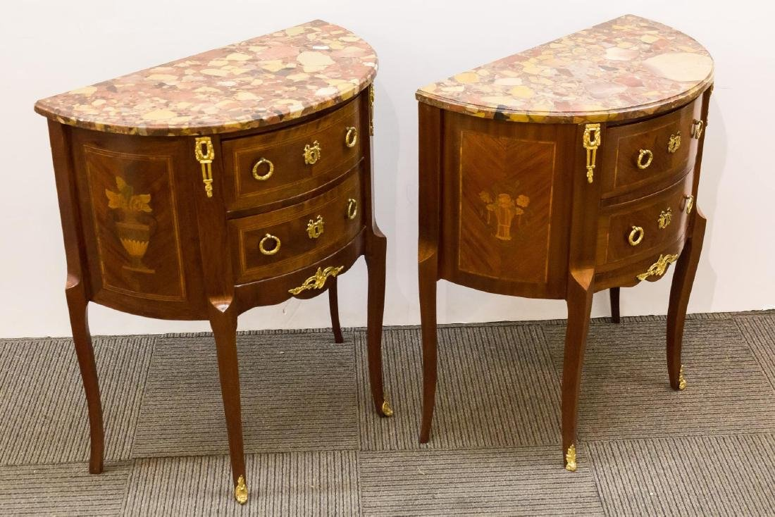 French Louis XVI-Manner Marble-Top Demilune Tables