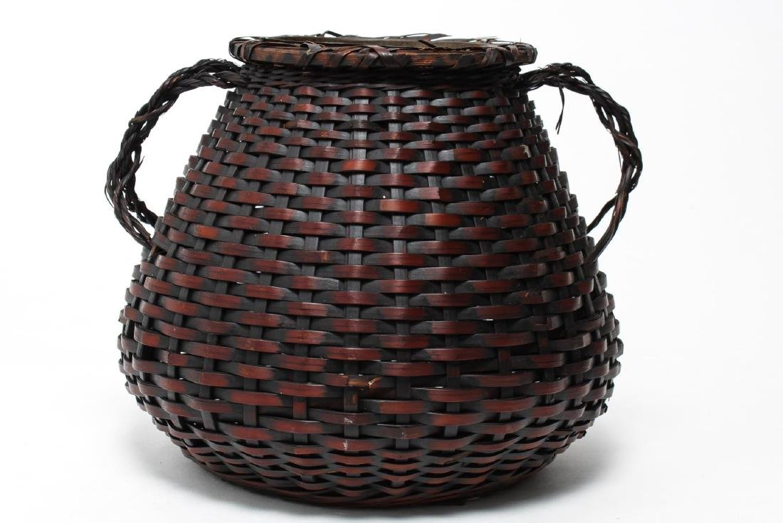 Japanese Meiji Ikebana Bamboo Basket, 19th C.