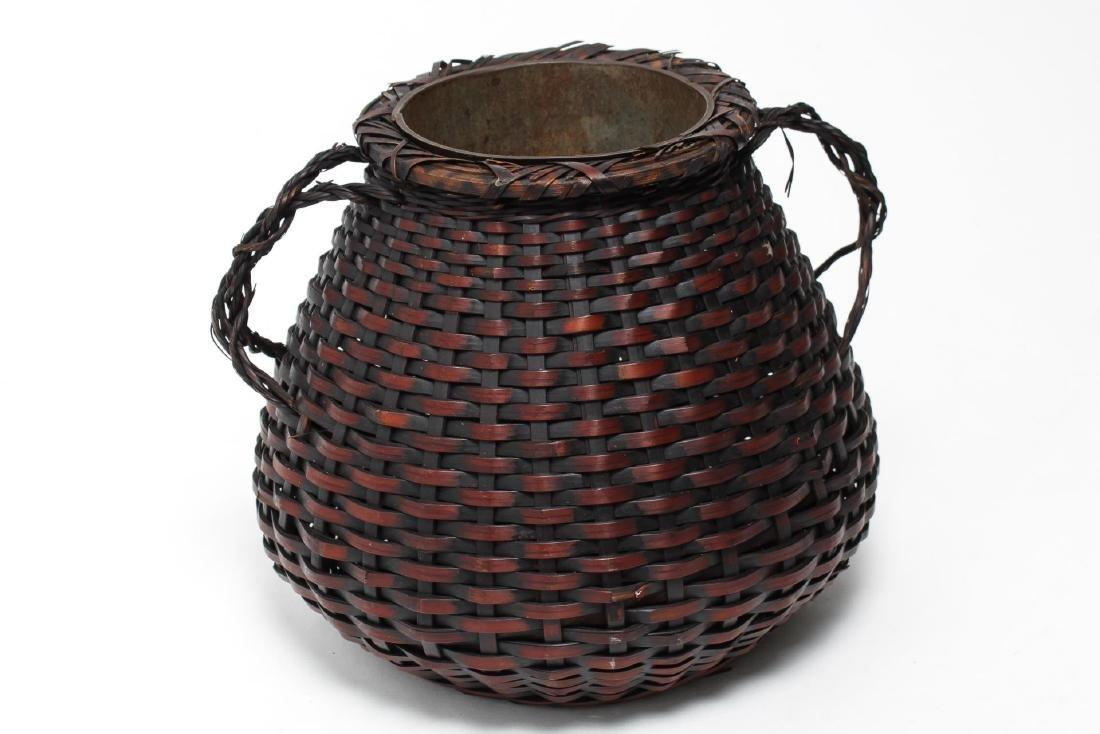 Japanese Meiji Ikebana Bamboo Basket, 19th C. - 2