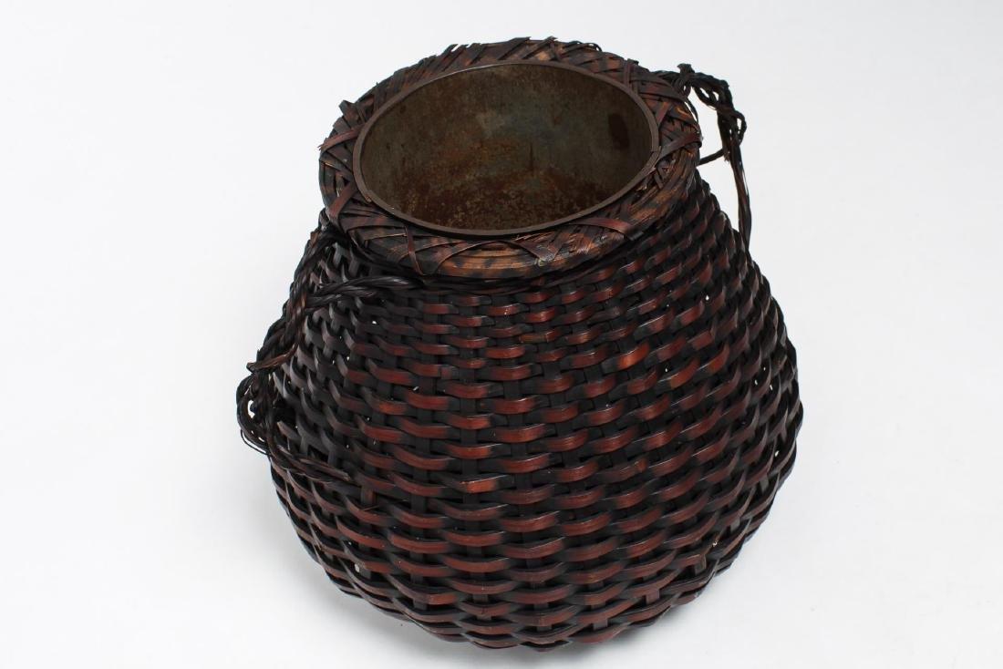 Japanese Meiji Ikebana Bamboo Basket, 19th C. - 3