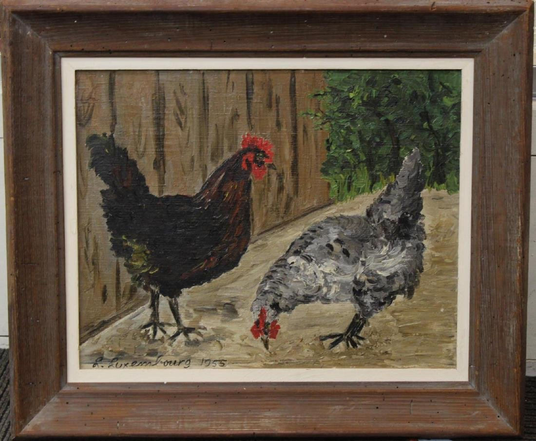 "Signed L. Luxembourg, ""Chickens""- Oil on Canvas"