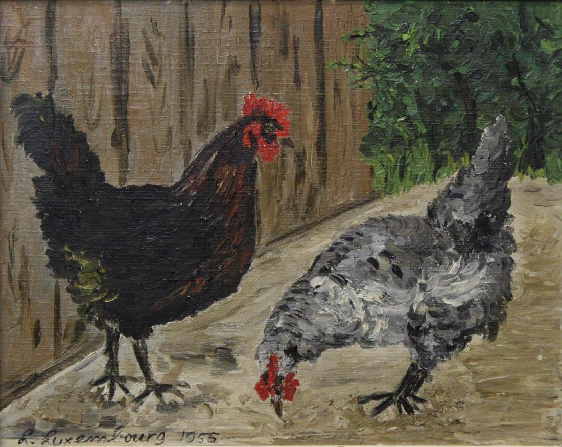"Signed L. Luxembourg, ""Chickens""- Oil on Canvas - 4"
