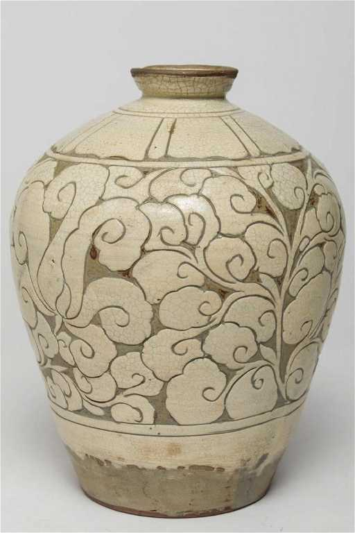 Korean Buncheong Incised Pottery Vase Antique