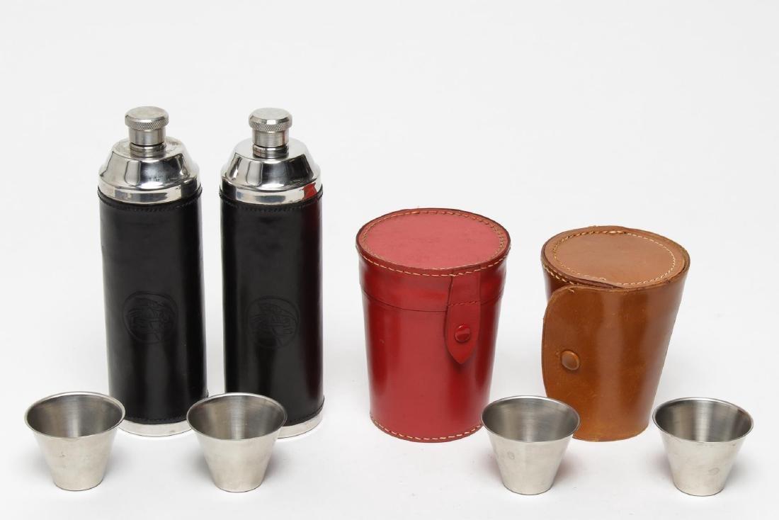 Vintage Leather Cased Flasks & Tumblers, 4