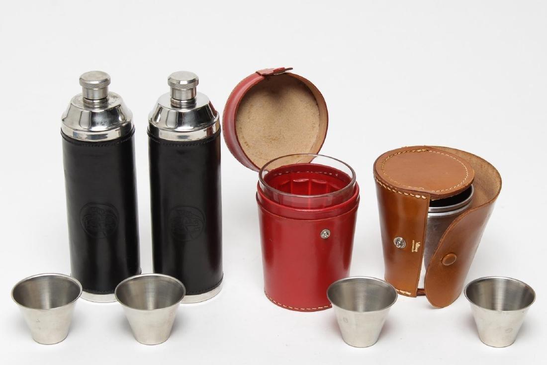 Vintage Leather Cased Flasks & Tumblers, 4 - 2
