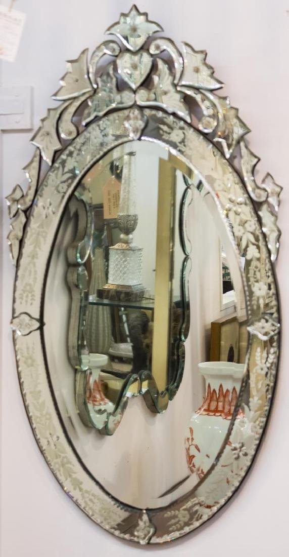 Venetian Mirror, Oval w. Etched Flowers