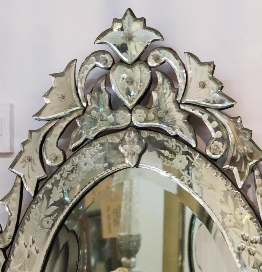 Venetian Mirror, Oval w. Etched Flowers - 2