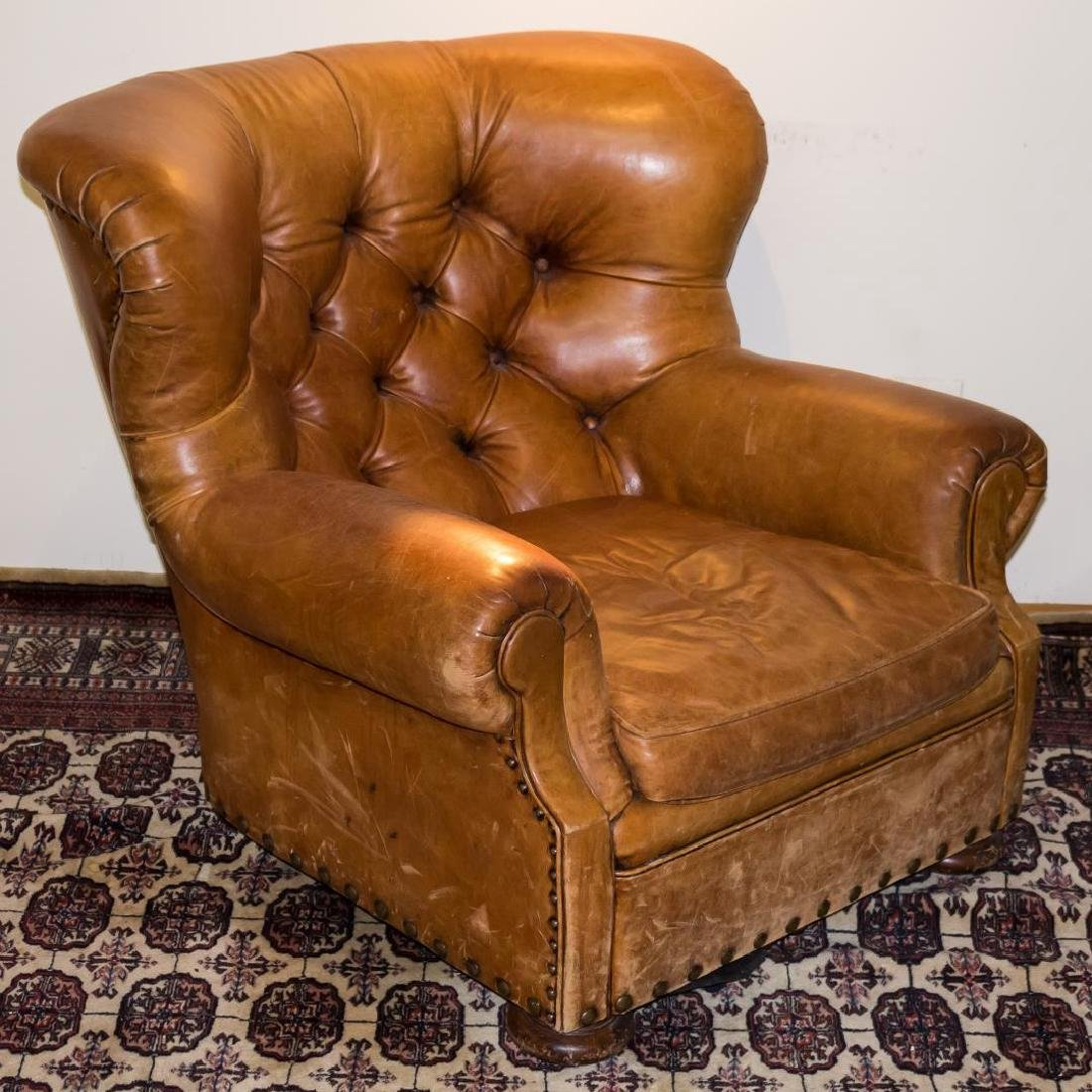 Ralph Lauren Overstuffed Leather Club Chair