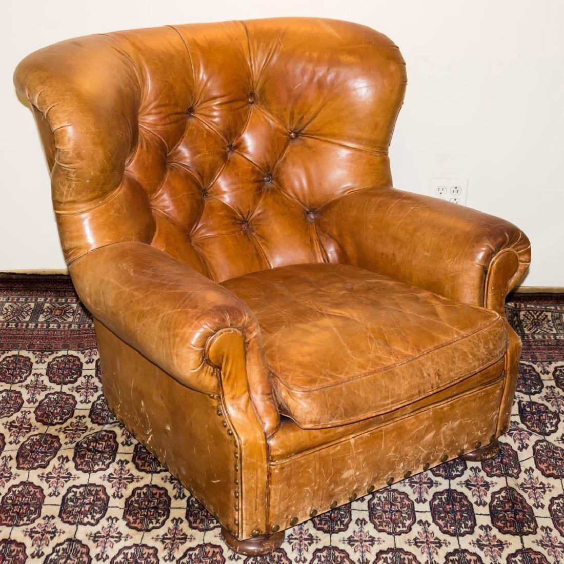 Ralph Lauren Overstuffed Leather Club Chair