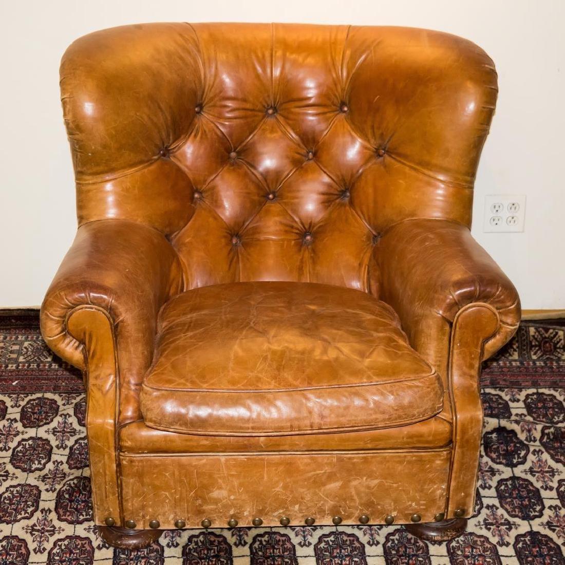 Ralph Lauren Overstuffed Leather Club Chair - 2