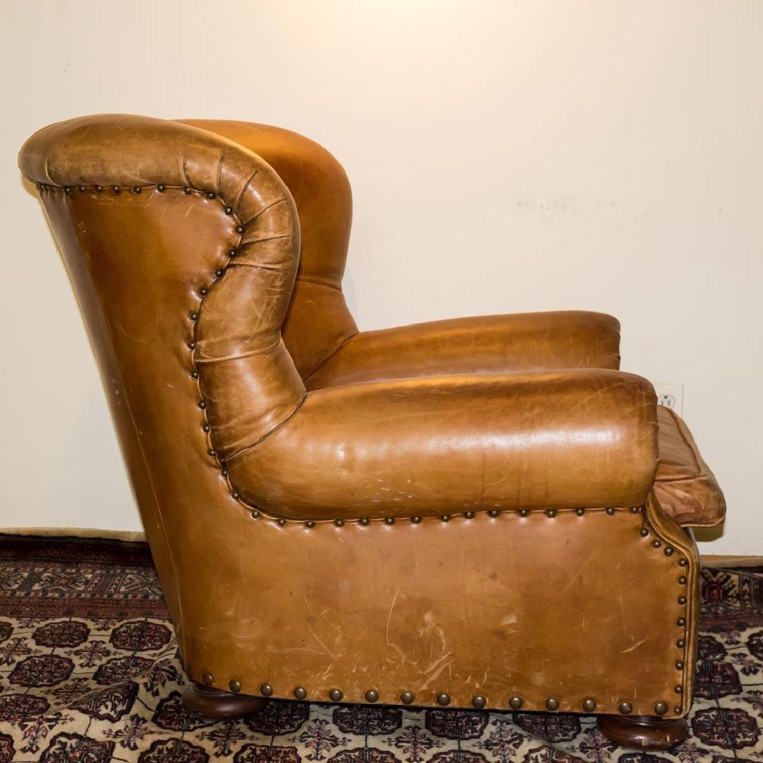 Ralph Lauren Overstuffed Leather Club Chair - 4