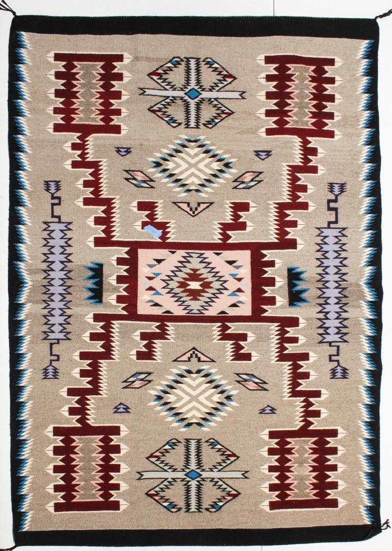 "Navajo American Indian Woven Rug, 4' 2"" X 5'"