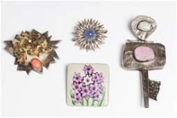 Modernist Jewelry, Silver & Enamel Brooches