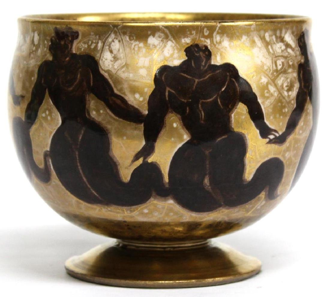 """Art Deco Jean Mayodon Sevres """"Fire of Gold"""" Bowl"""