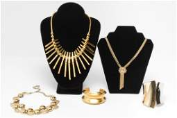 Modernist Gold-Tone Metal Costume Jewelry, 5 Pcs