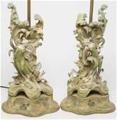 Royal DuxManner Art Nouveau Porcelain Vase Lamps