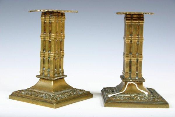 6: Pair English Brass Candlesticks c1870