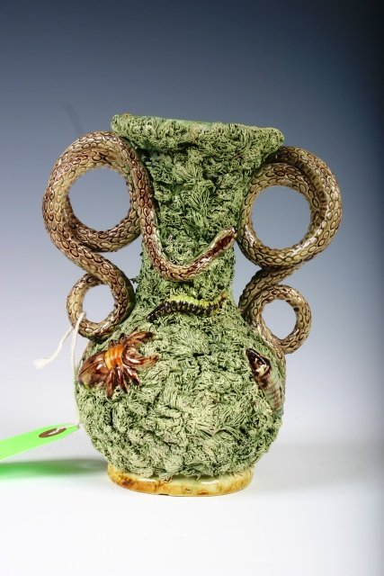 10: 19th C Palissy Ware Snake Handled Vase