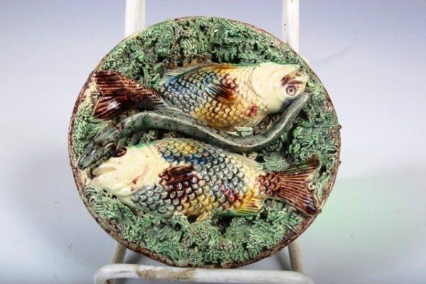 11: 19th C Mafra Pallisy Ware Fish, Eel & Moss Plaque