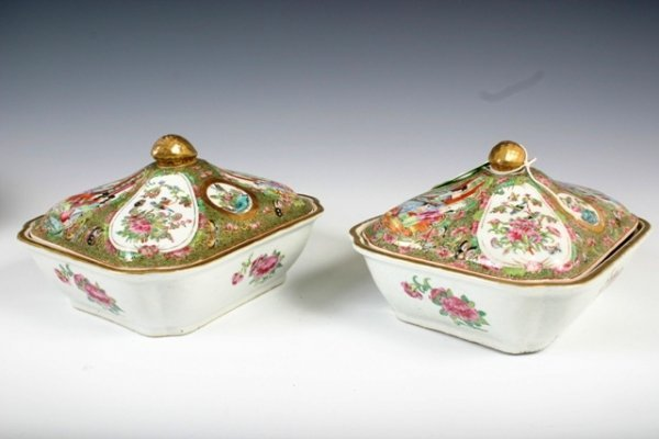 13: Pr Rose Medallion Covered Glass Dishes c1860s