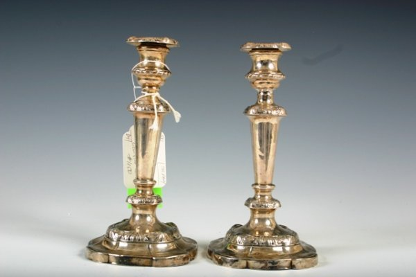 14: Pr Sterling Silver Georgian Sheffield Candlesticks
